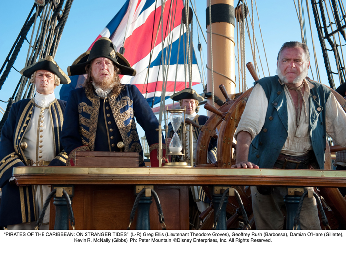 Pirates des Caraïbes : la Fontaine de Jouvence : Photo Geoffrey Rush, Jonny Rees, Kevin McNally