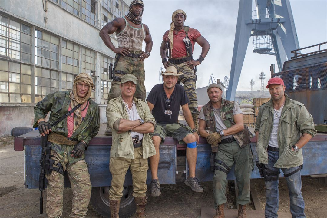 Expendables 3 : Photo Dolph Lundgren, Jason Statham, Patrick Hughes (II), Randy Couture, Sylvester Stallone