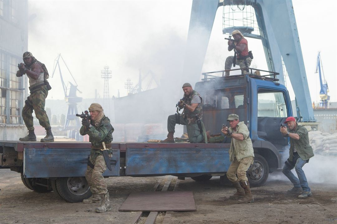 Expendables 3 : Photo Dolph Lundgren, Jason Statham, Sylvester Stallone, Terry Crews, Wesley Snipes