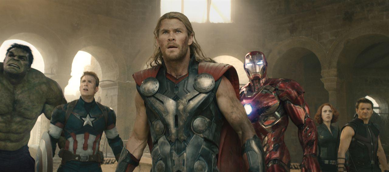 Avengers : L'ère d'Ultron : Photo Chris Evans, Chris Hemsworth, Jeremy Renner, Scarlett Johansson