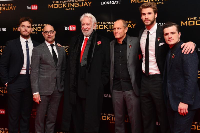 Hunger Games - La Révolte : Partie 2 : Photo promotionnelle Donald Sutherland, Josh Hutcherson, Liam Hemsworth, Sam Claflin, Stanley Tucci