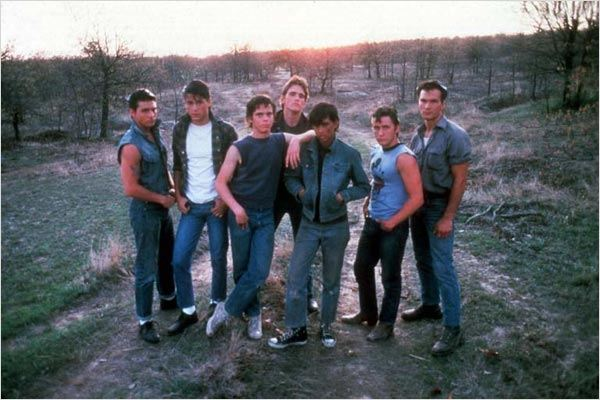 Outsiders : photo C. Thomas Howell, Emilio Estevez, Francis Ford Coppola, Matt Dillon, Patrick Swayze