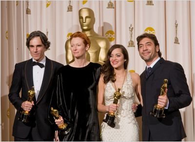 C&#233;r&#233;monie des Oscars 2008 (TV) : photo Daniel Day-Lewis, Javier Bardem, Marion Cotillard, Tilda Swinton