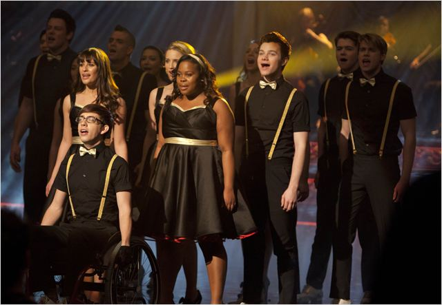 Photo Amber Riley, Chord Overstreet, Chris Colfer, Cory Monteith, Damian McGinty