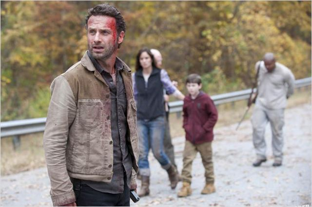 Photo Andrew Lincoln, Chandler Riggs, IronE Singleton, Sarah Wayne Callies, Scott Wilson