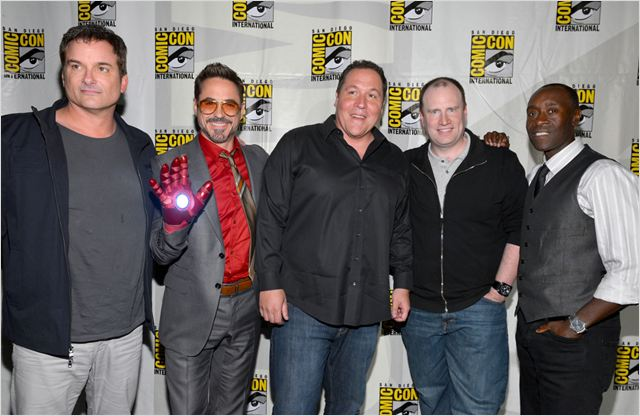Iron Man 3 : Photo Don Cheadle, Jon Favreau, Kevin Feige, Robert Downey Jr., Shane Black