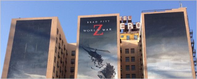 """World War Z"" : l'affiche gigantesque du film sur un grand hôtel !"