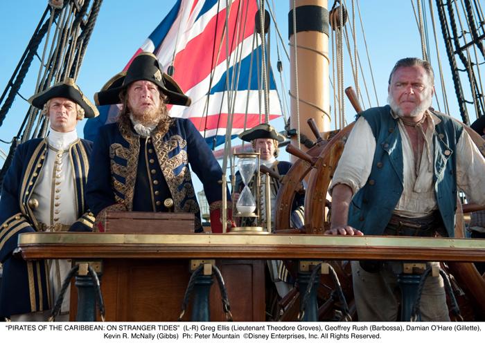Pirates des Caraïbes : la Fontaine de Jouvence : Photo Geoffrey Rush, Jonny Rees, Kevin McNally